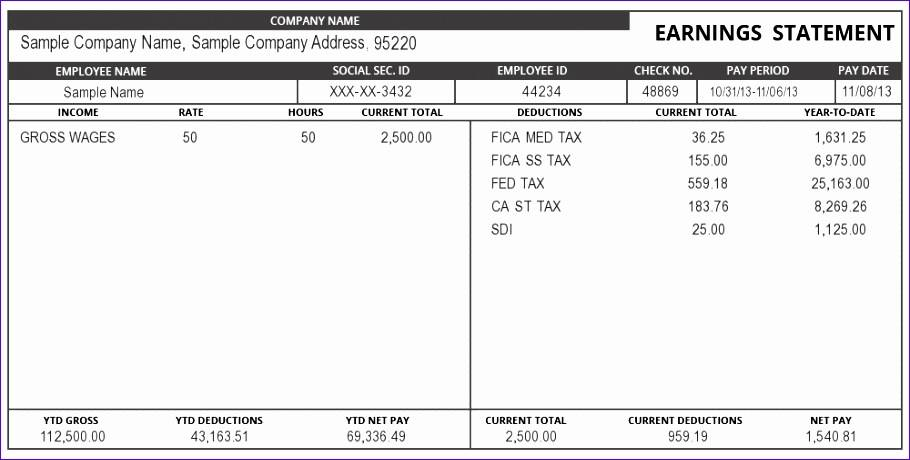 Pay Stub Template For Microsoft Excel
