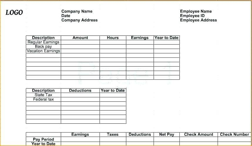 Pay Stub Template Free Microsoft Works