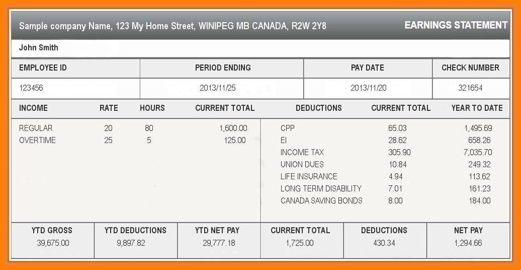 Paycheck Stub Template Psd