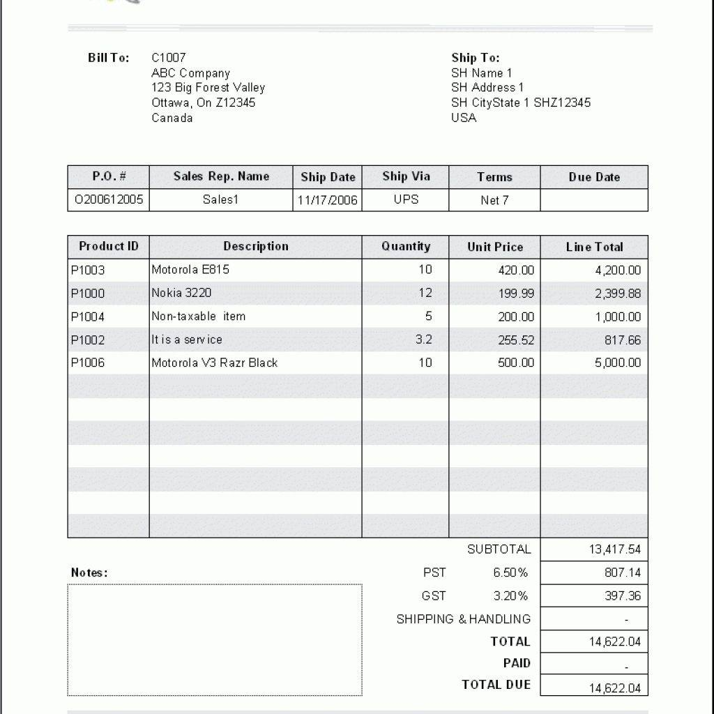 Payment Invoice Template Download