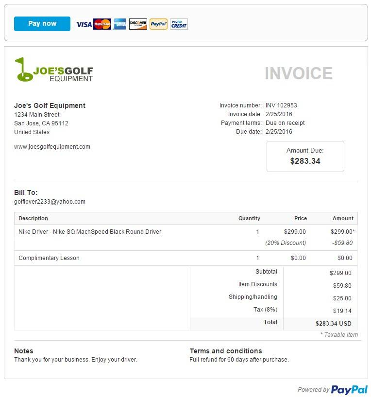 Paypal Invoice Template Excel
