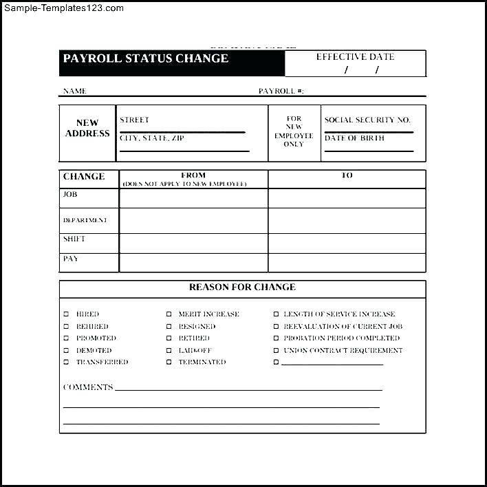 Payroll Change Form Templates