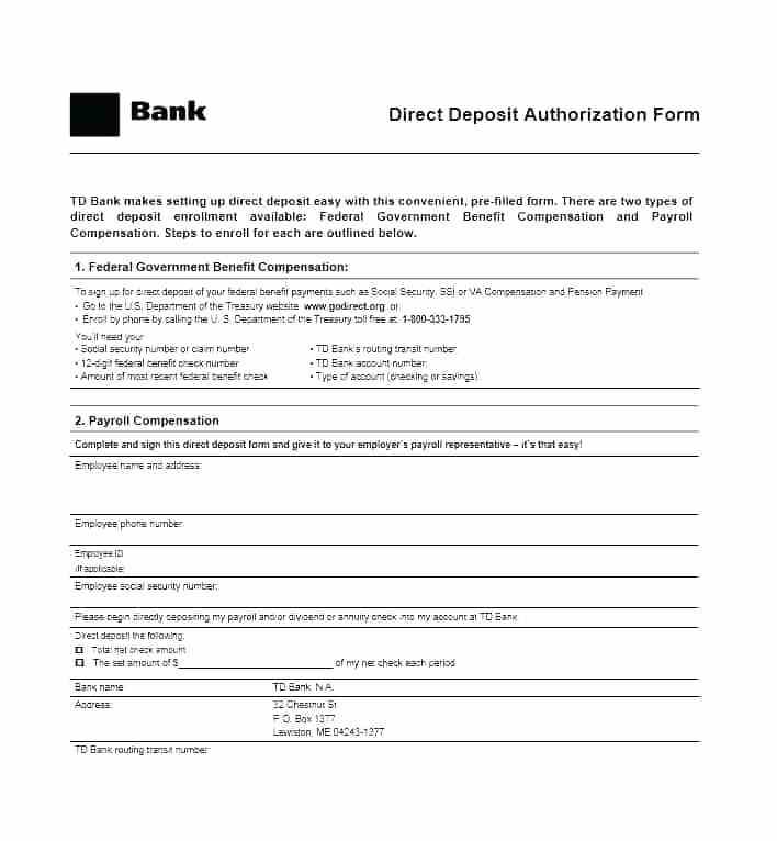 Payroll Direct Deposit Form Template