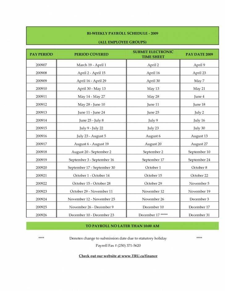 Payroll Schedule 2018 Template