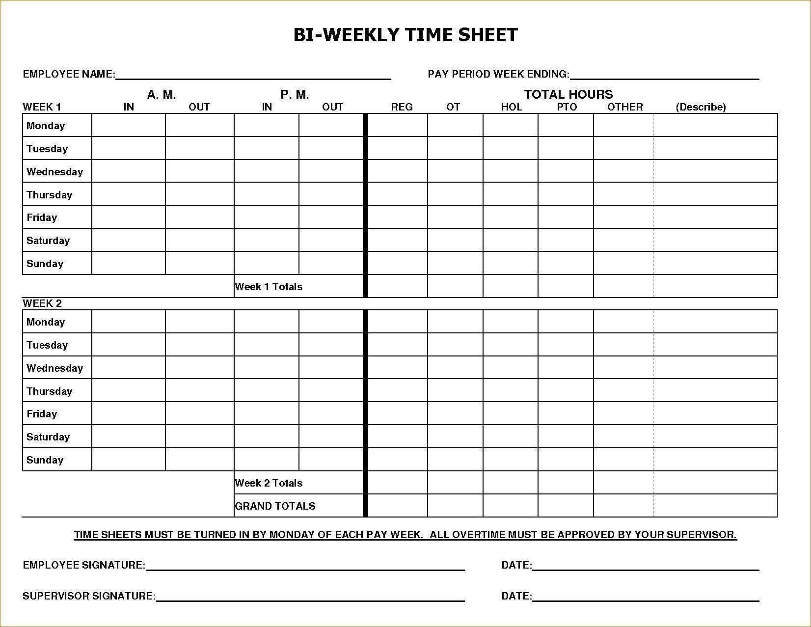 Payroll Timesheet Template Excel