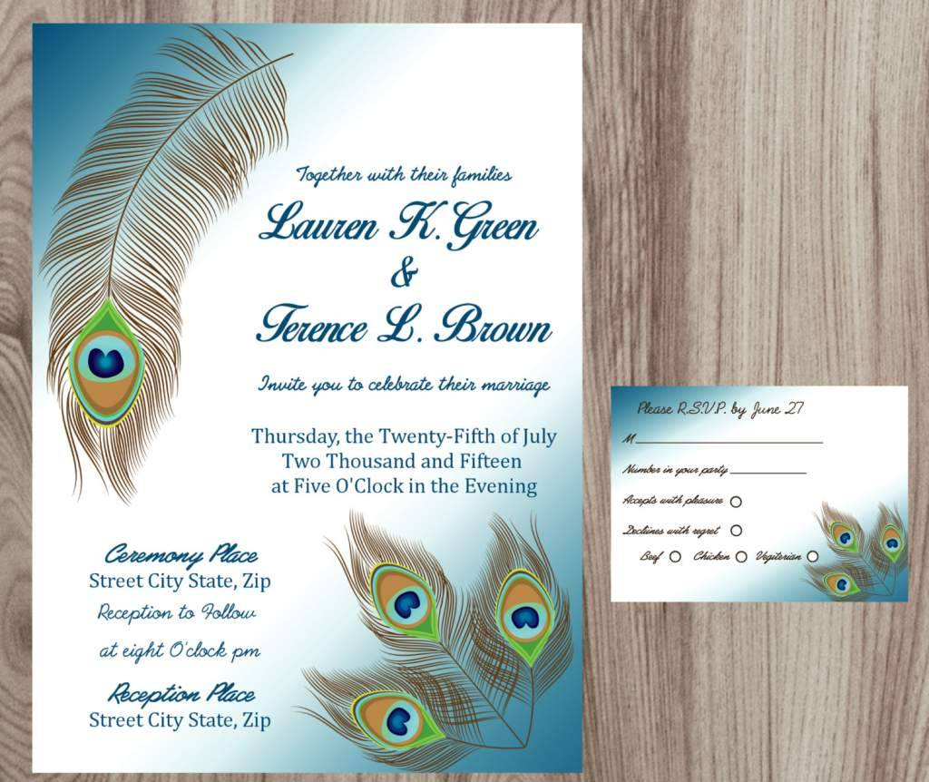 Peacock Wedding Invitation Template Download