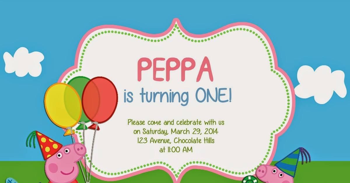 Peppa Pig Invitation Template