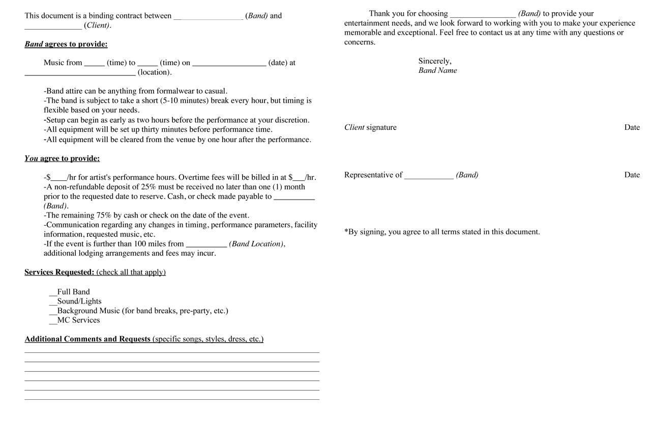 Performance Agreement Template Musician