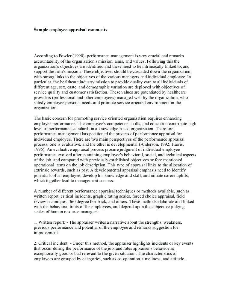 Performance Appraisal Sample For Employees