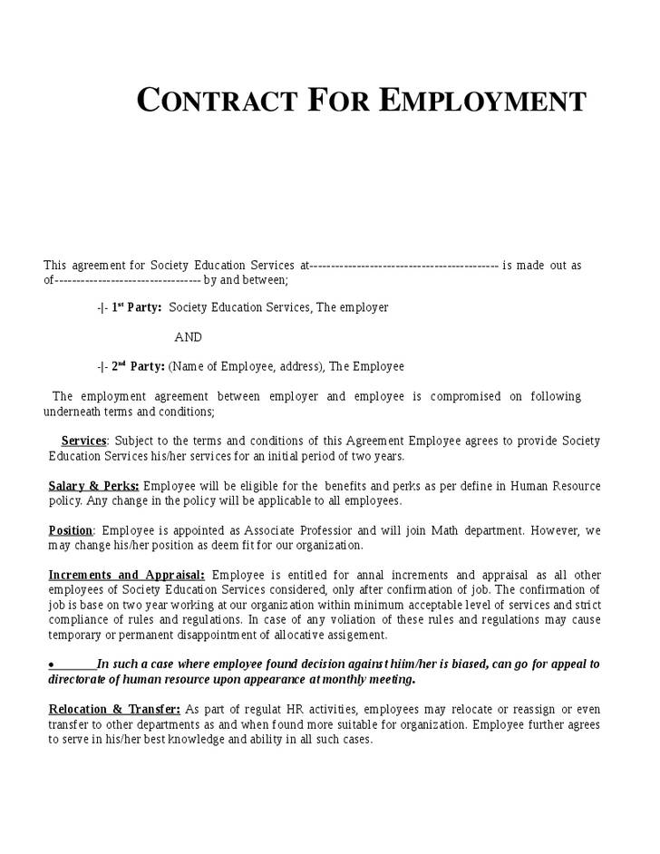 Permanent Recruitment Contract Template