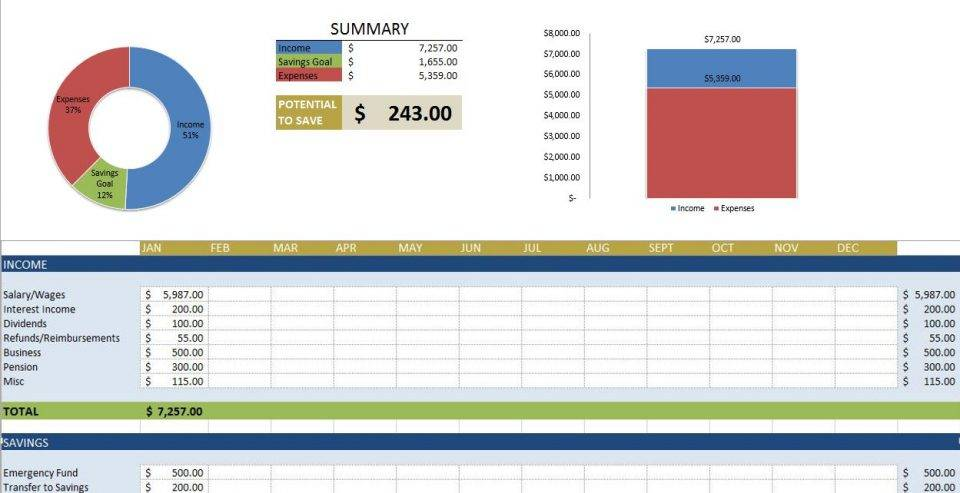Personal Accounting Spreadsheet Template