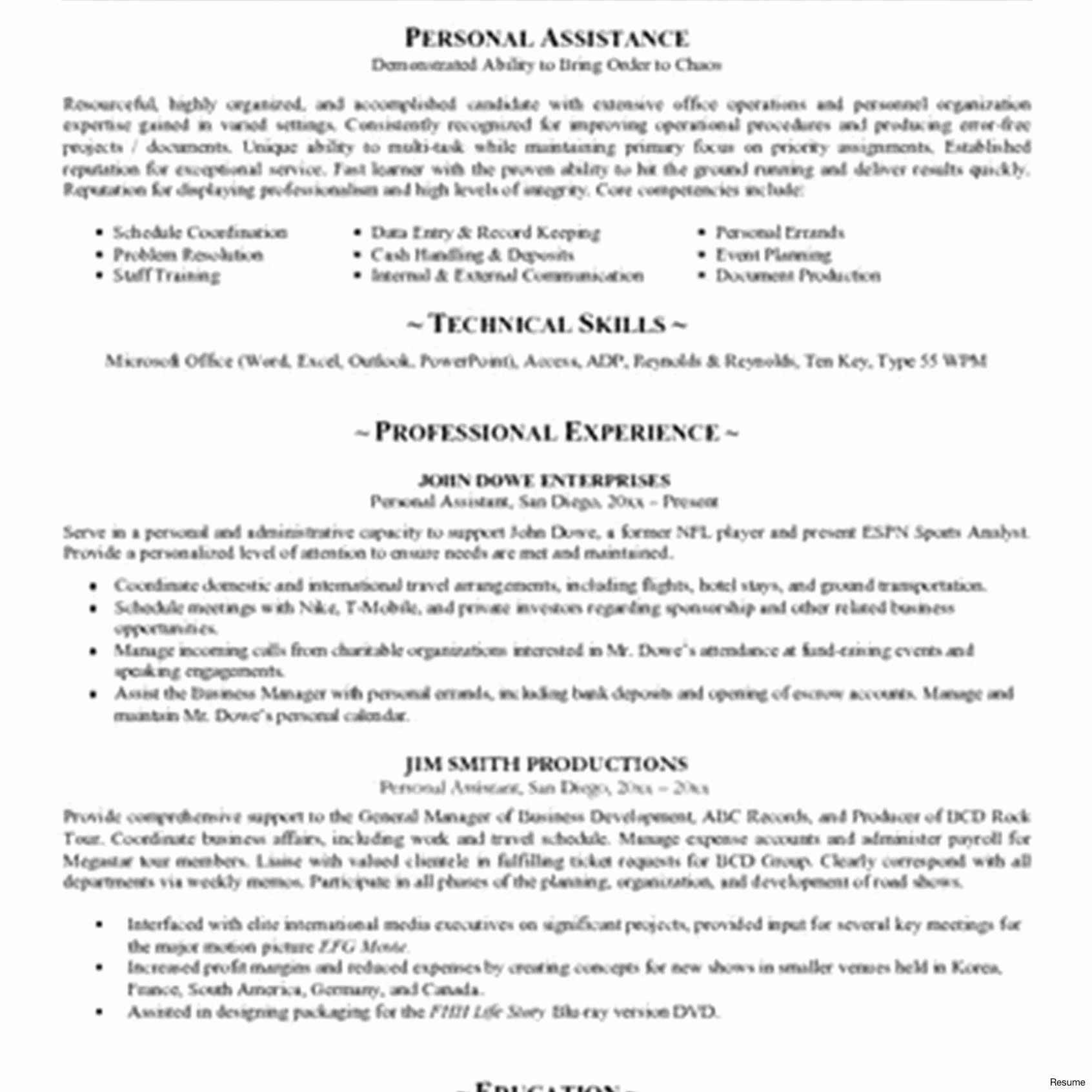 Personal Assistant Resume Templates Free