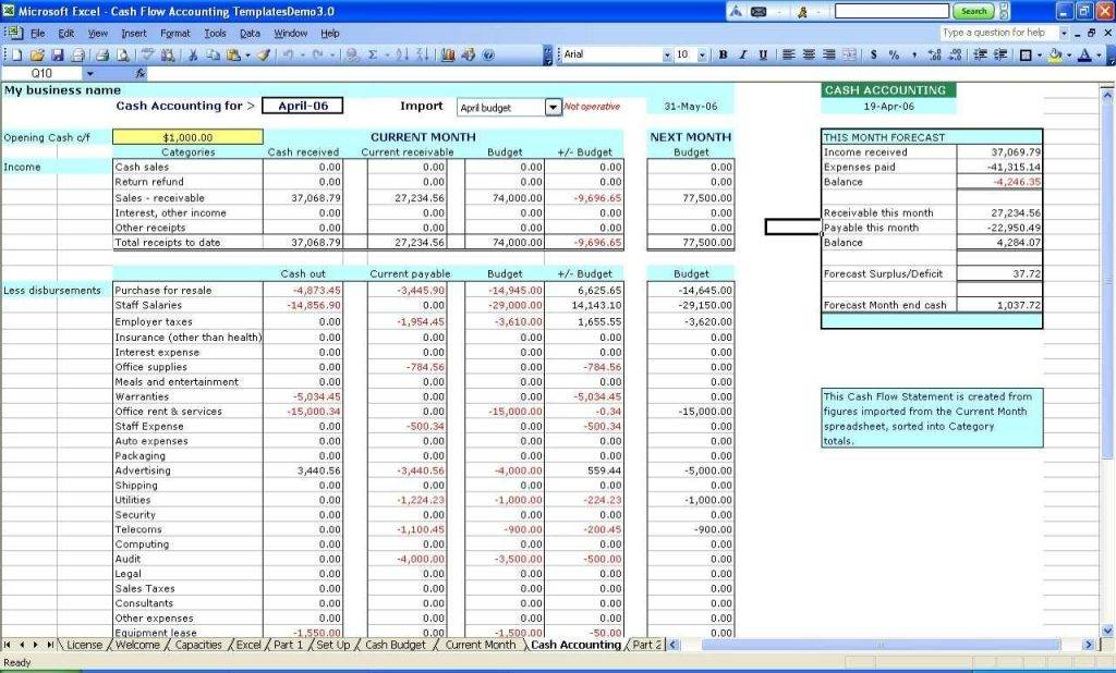 Personal Bookkeeping Templates Excel