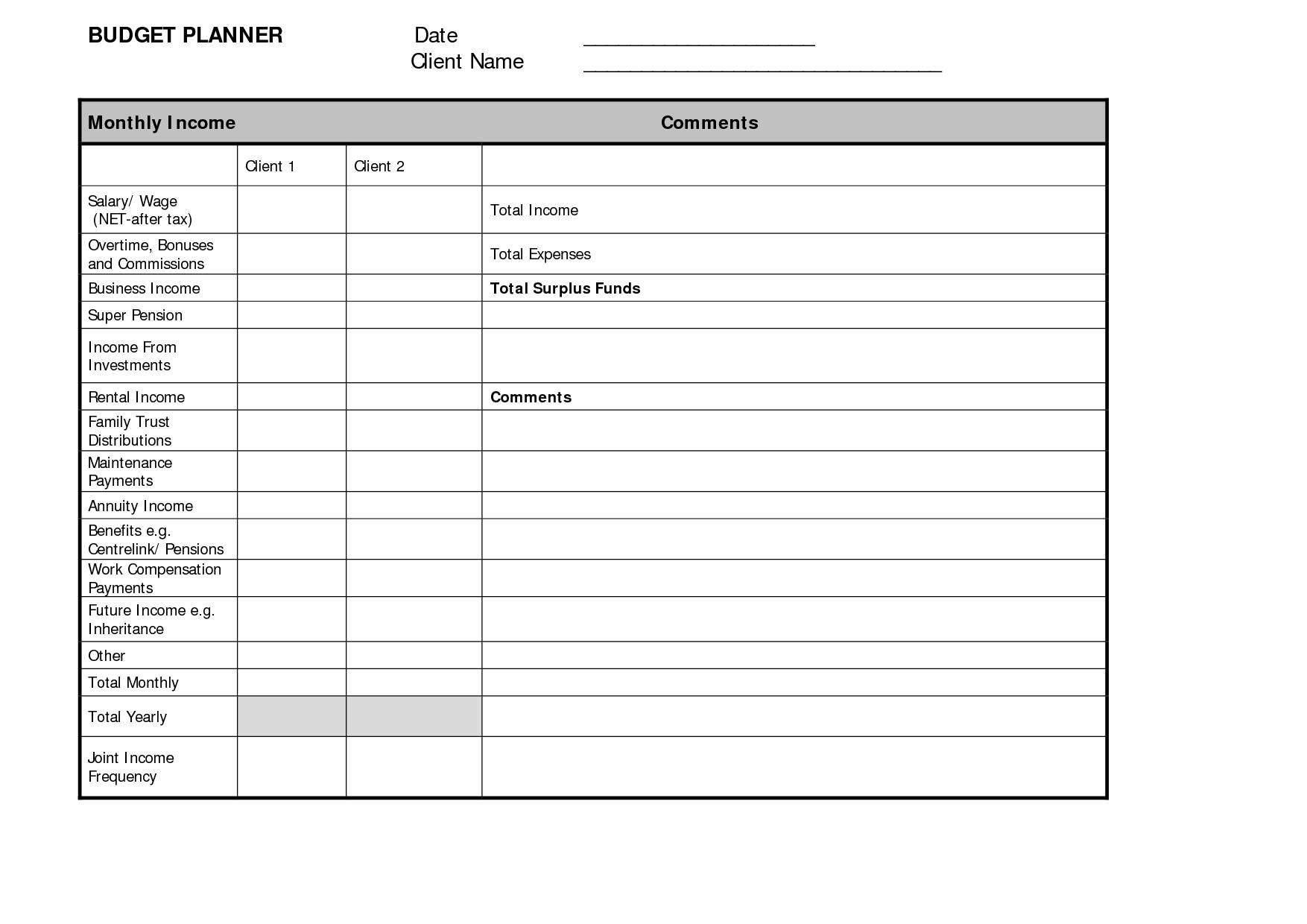 Personal Budget Planner Template Free