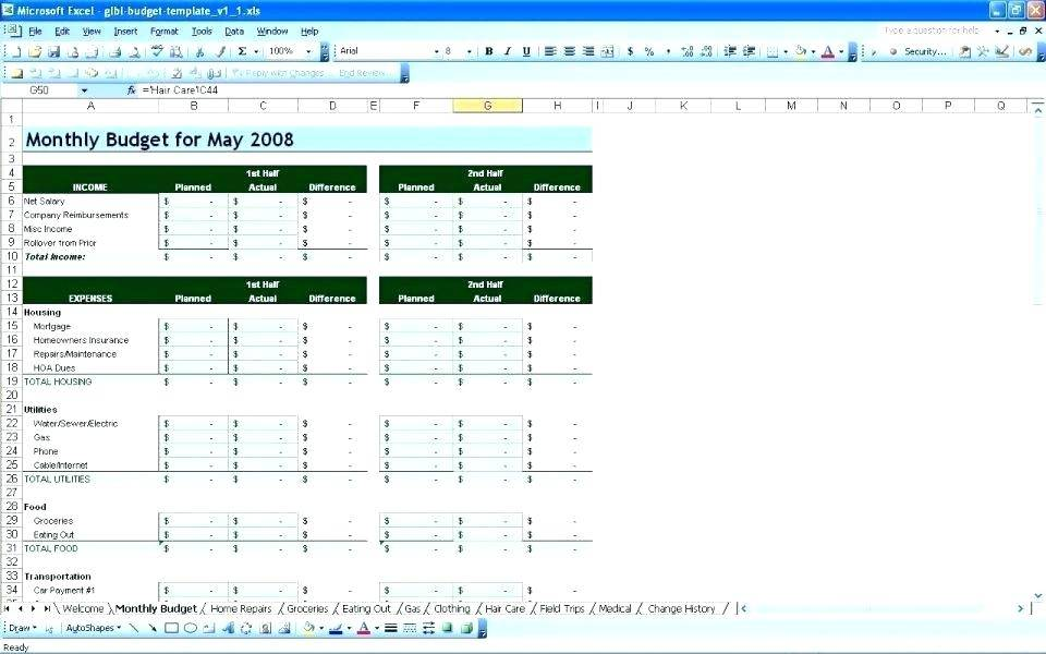 Personal Budget Templates For Excel