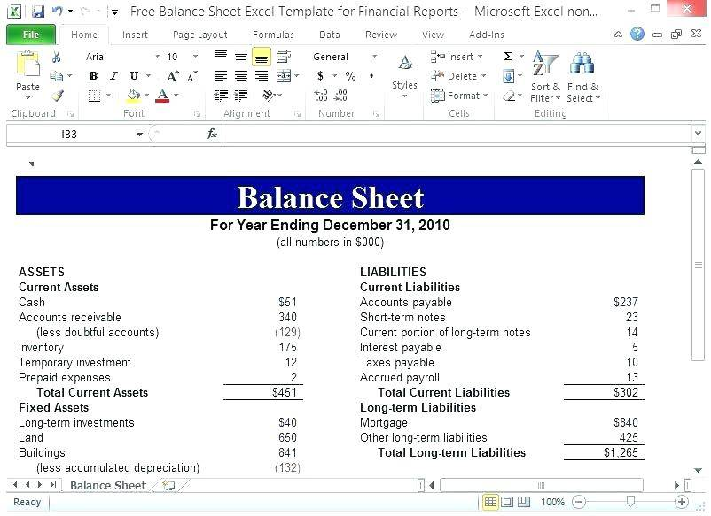 Personal Finance Balance Sheet Example