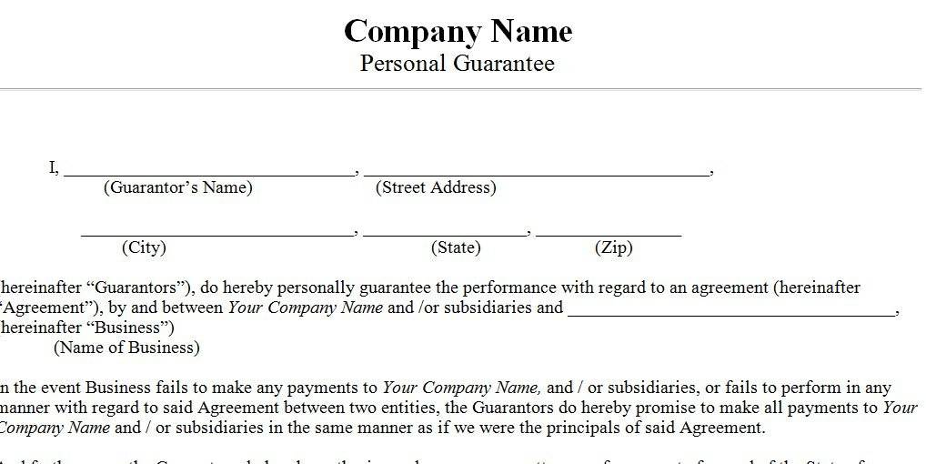Personal Guarantee Form Template
