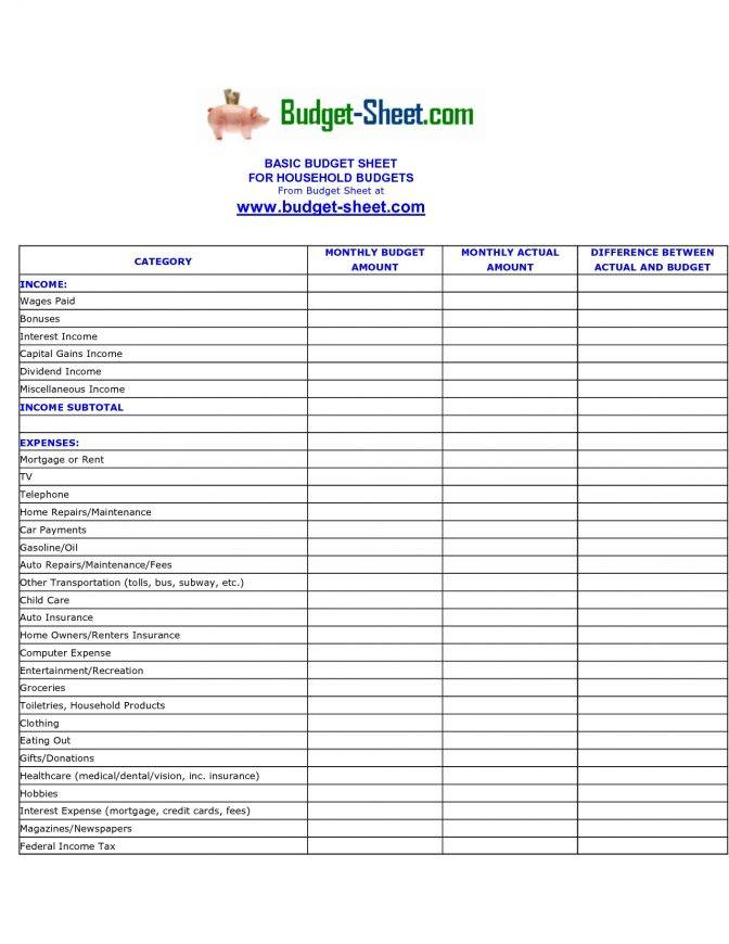 Personal Income And Expense Sheet Template