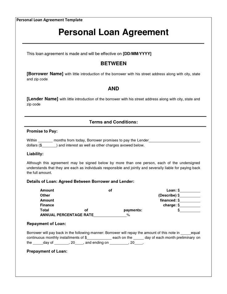 Personal Loan Agreement Template Doc