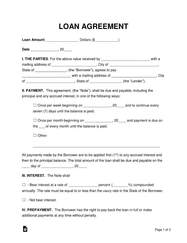 Personal Loan Agreement Word Format