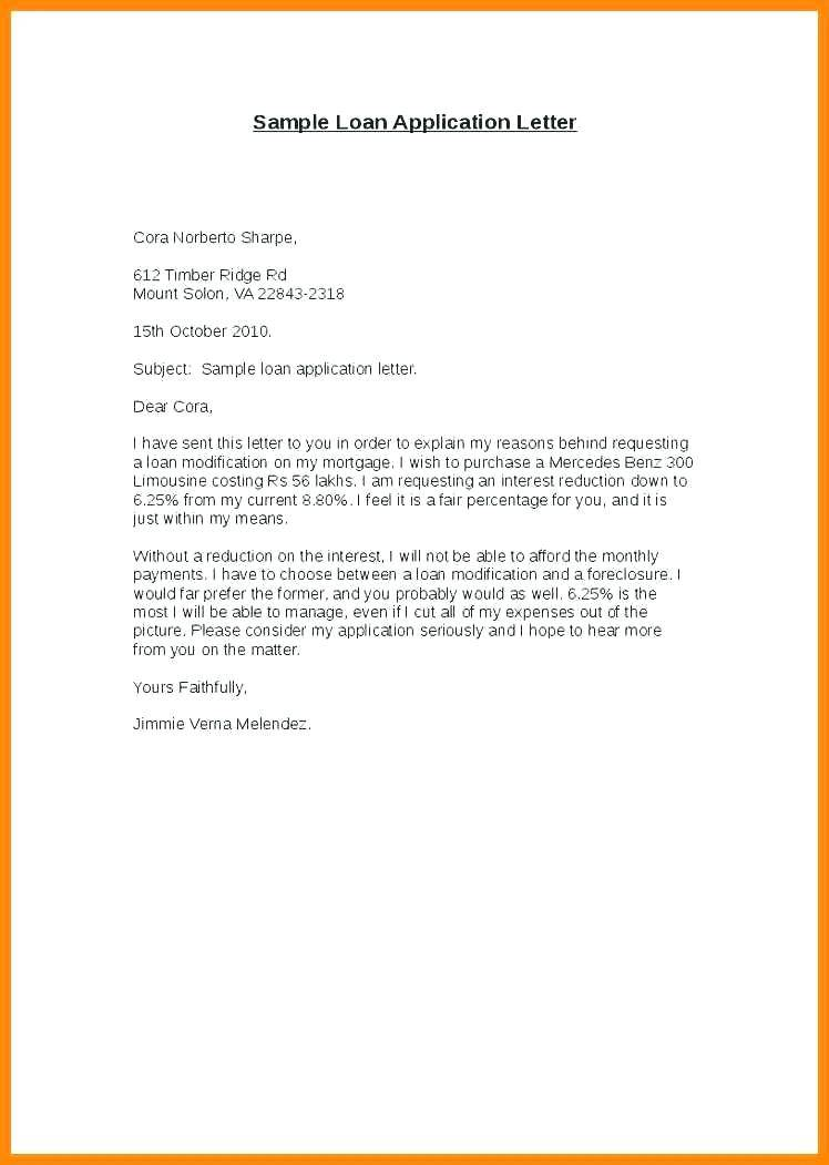 Personal Loan Application Letter Sample Doc