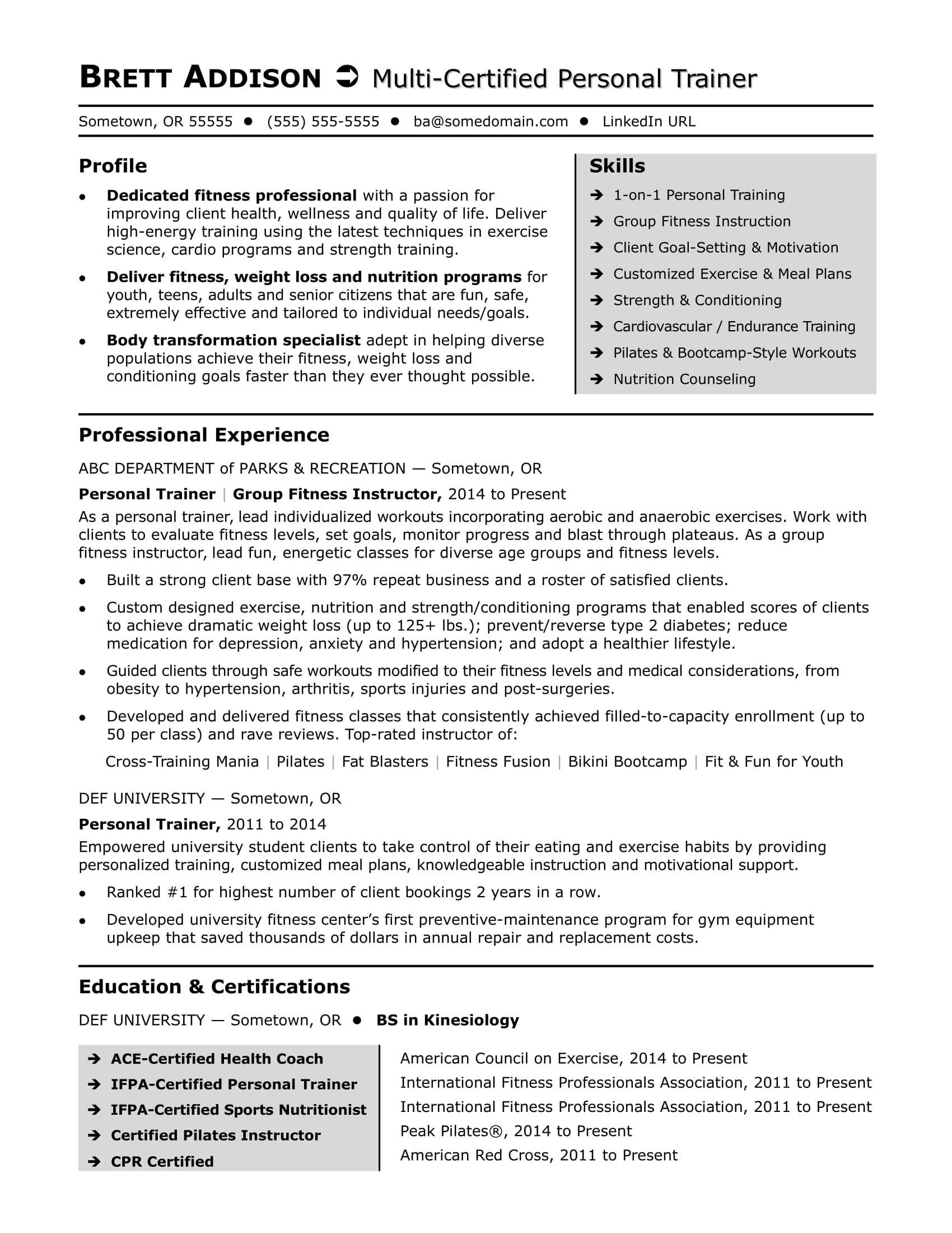Personal Trainer Bio Example Uk