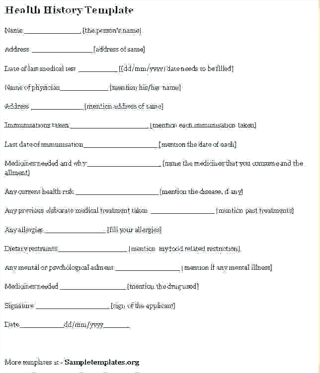 Personal Trainer Health Questionnaire Template