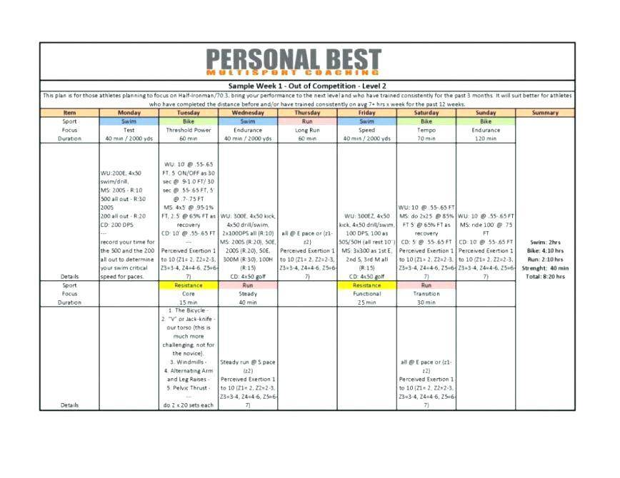 Personal Trainer Workout Plan Template