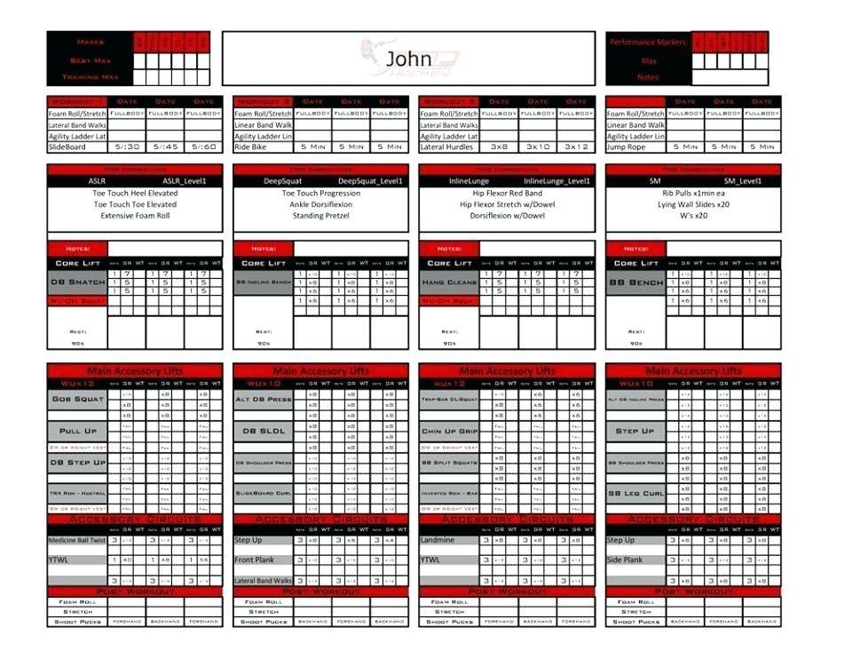 Personal Trainer Workout Template Excel