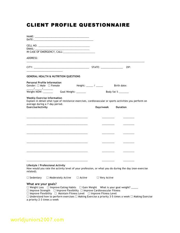 Personal Training Client Questionnaire Template