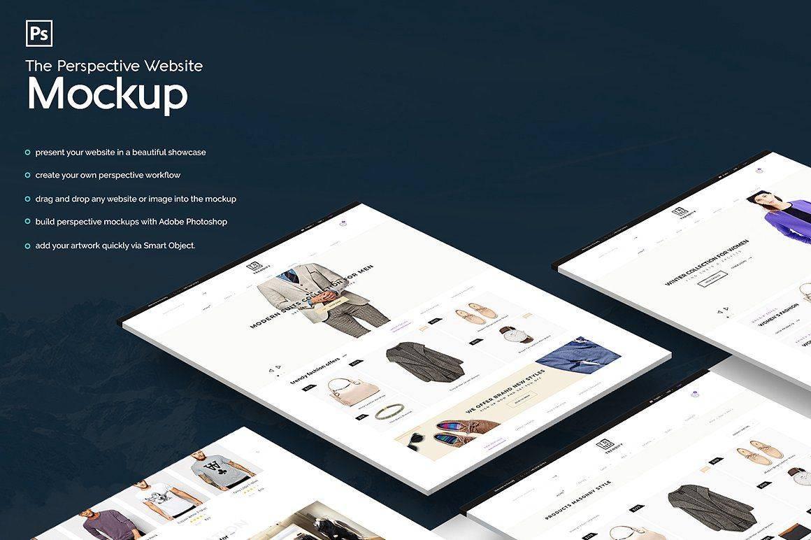 Perspective Website Mockup Template