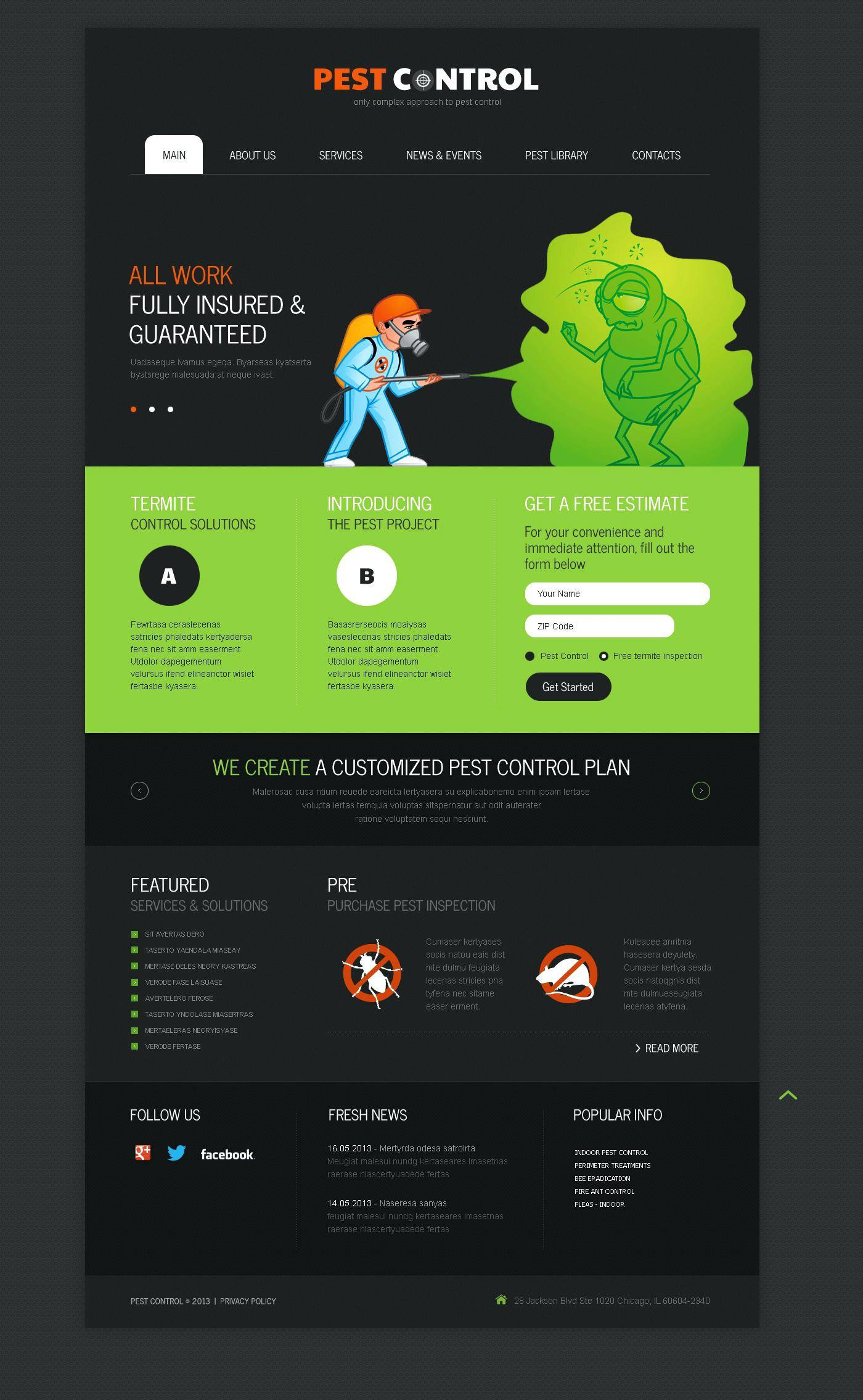 Pest Control Responsive Website Template Free