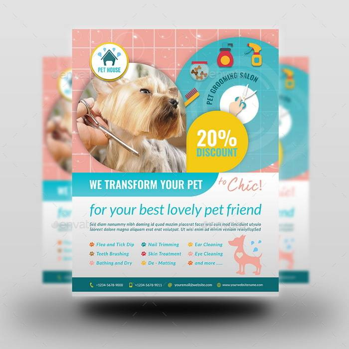 Pet Grooming Flyers Template
