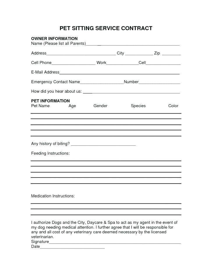Pet Sitting Contract Templates