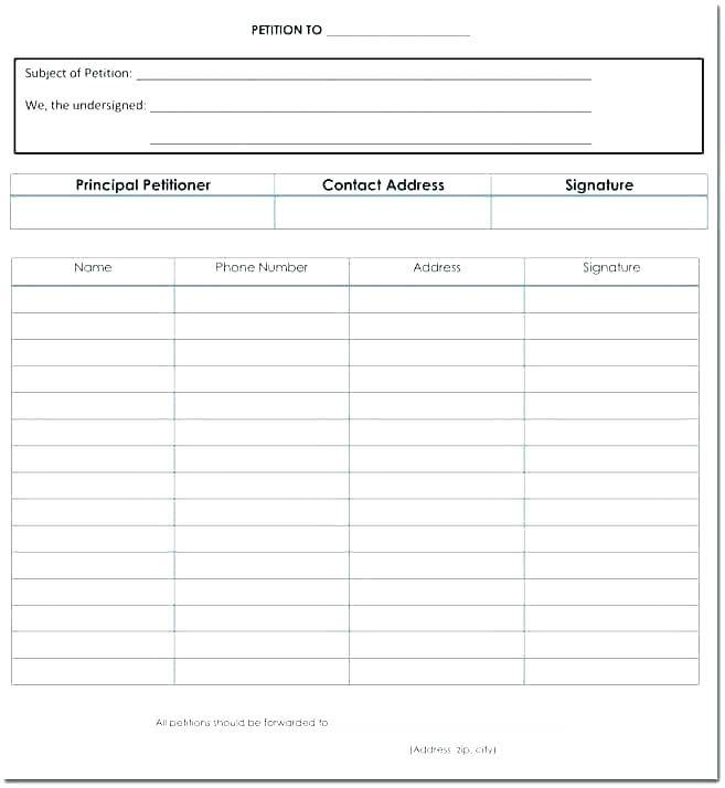 Petition Form Template Word
