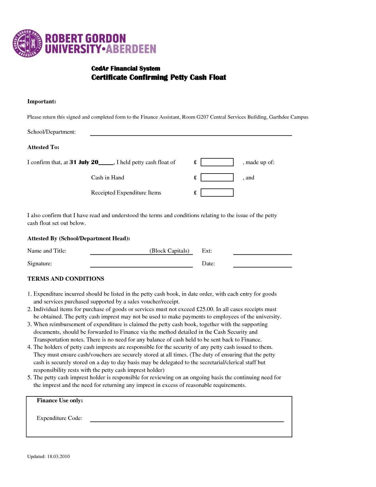 Petty Cash Audit Confirmation Template