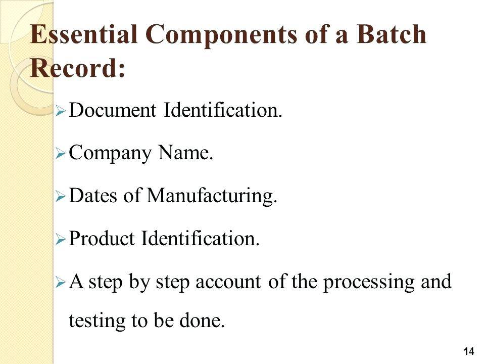 Pharmaceutical Batch Manufacturing Record Template