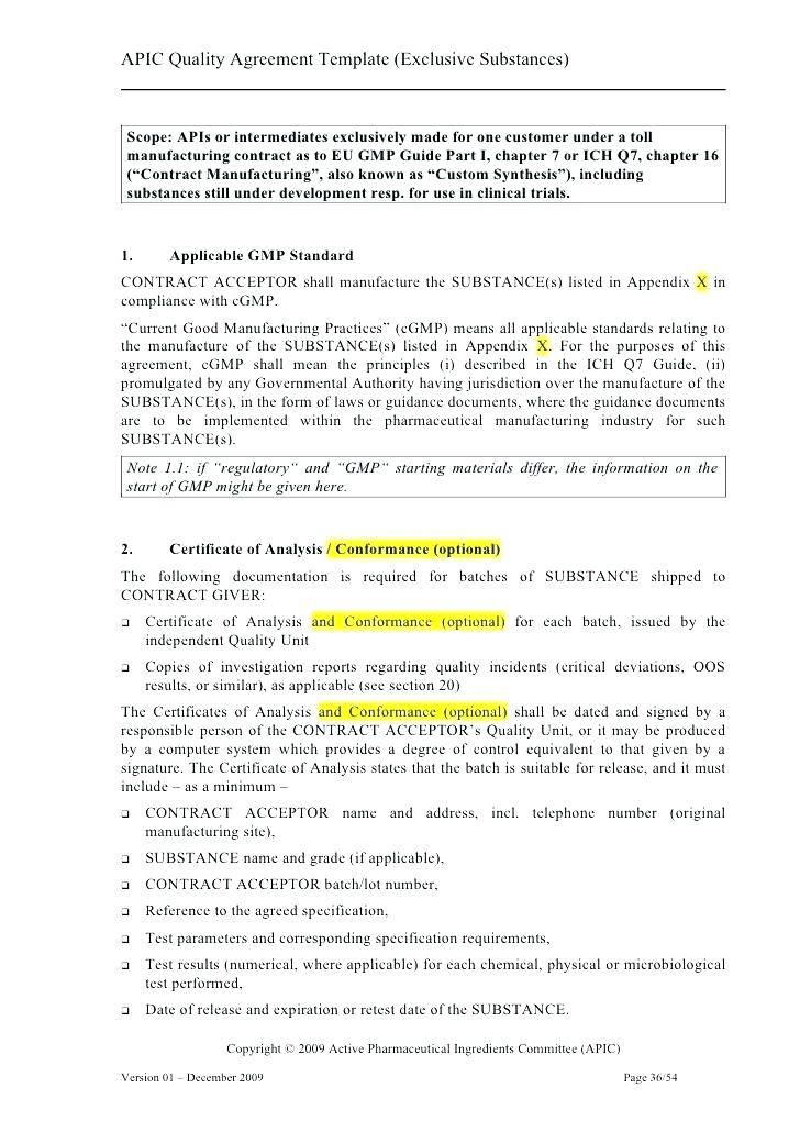 Pharmaceutical Manufacturing Agreement Template