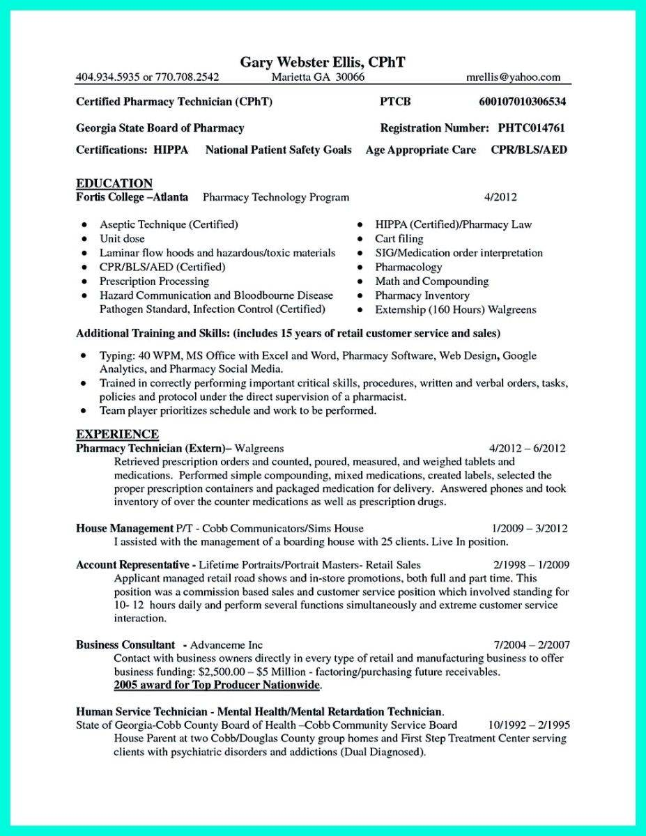 Pharmacy Technician Resume Template