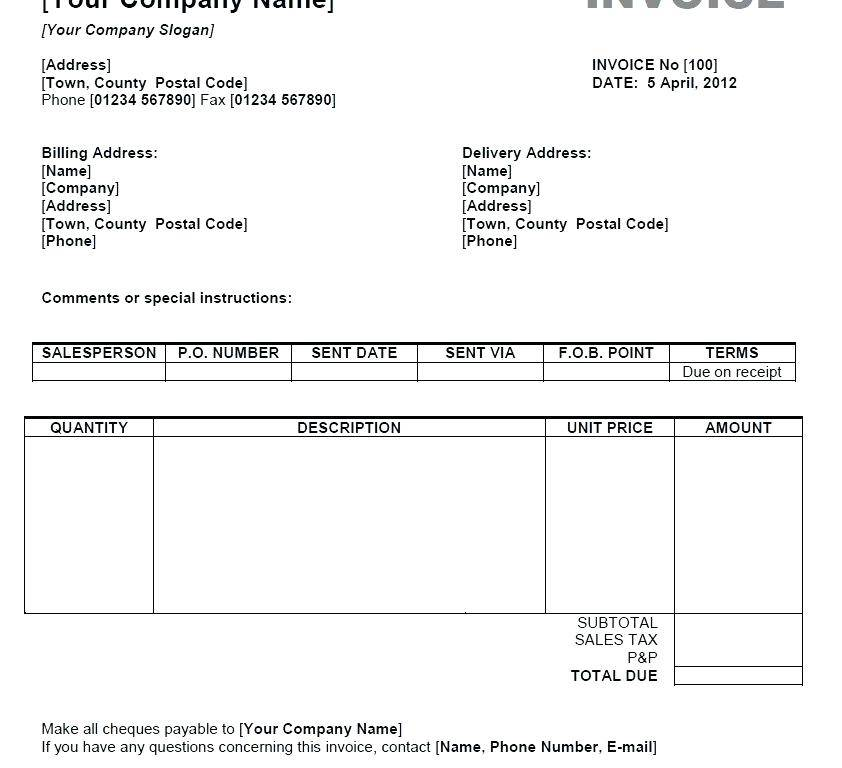 Photographers Invoice Template Free Download