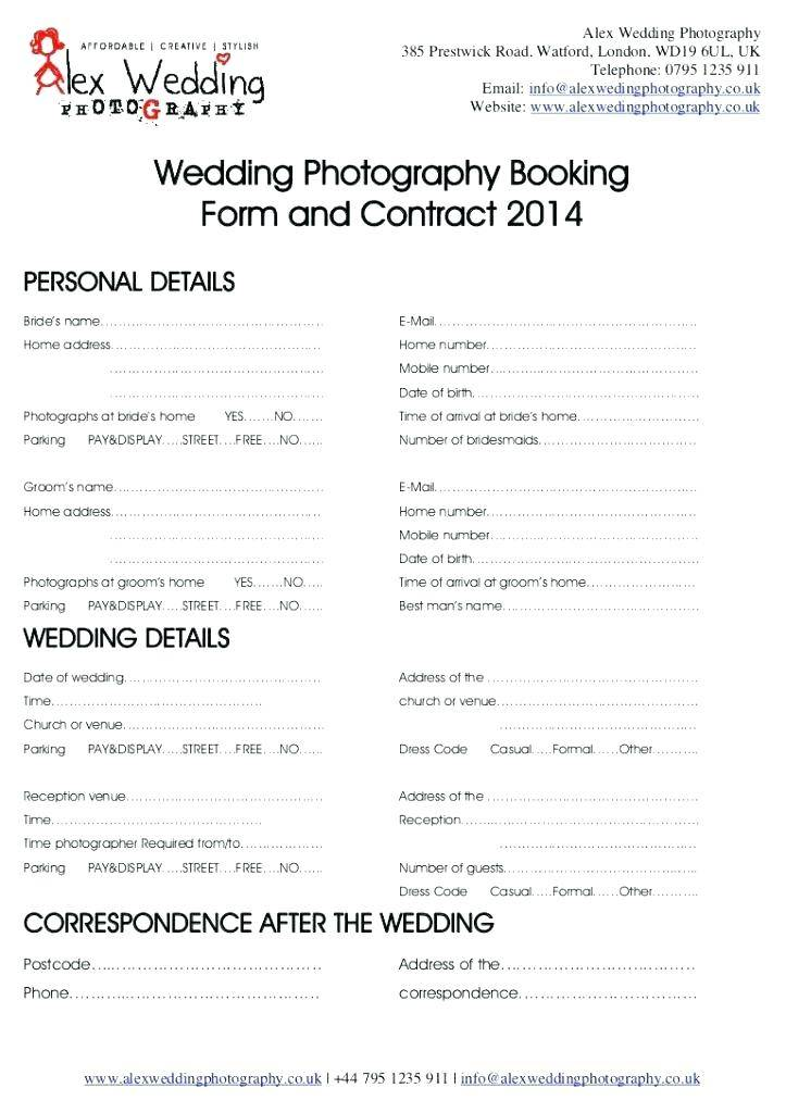 Photography Booking Contract Template