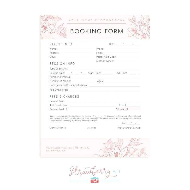 Photography Booking Form Template Free Download