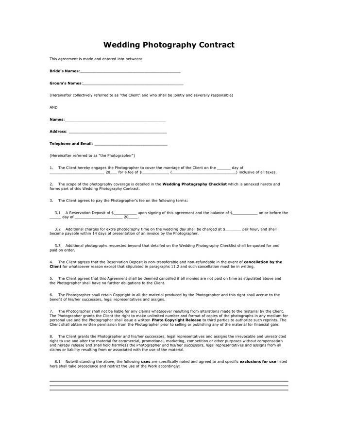 Photography Contract Form Pdf