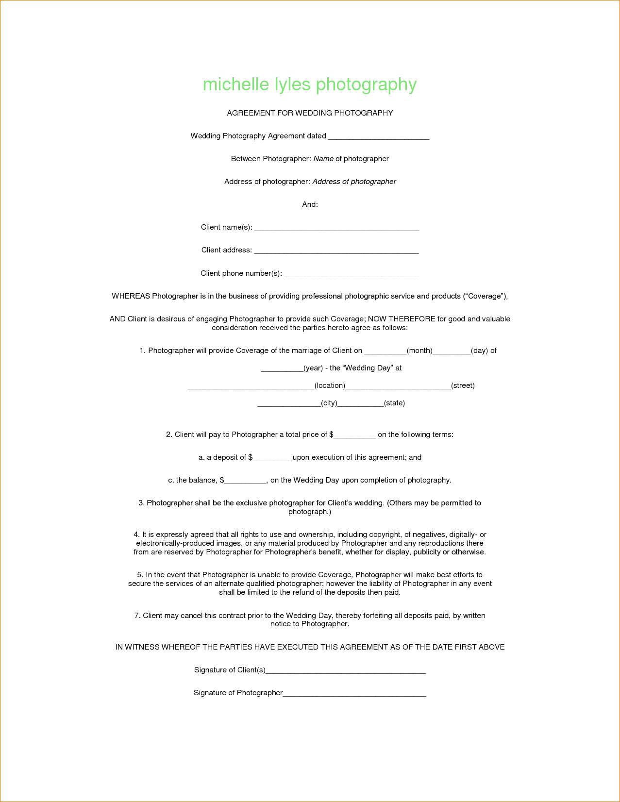 Photography Contract Template Australia