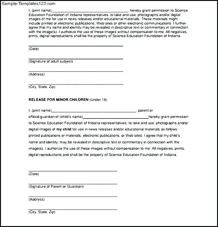Photography Waiver And Release Form Template