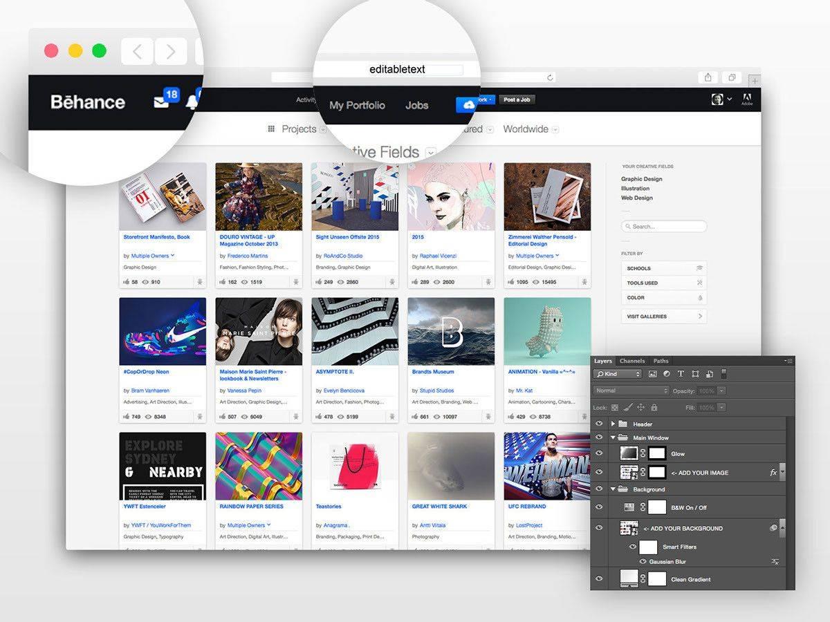 Photoshop Web Design Mockup Template