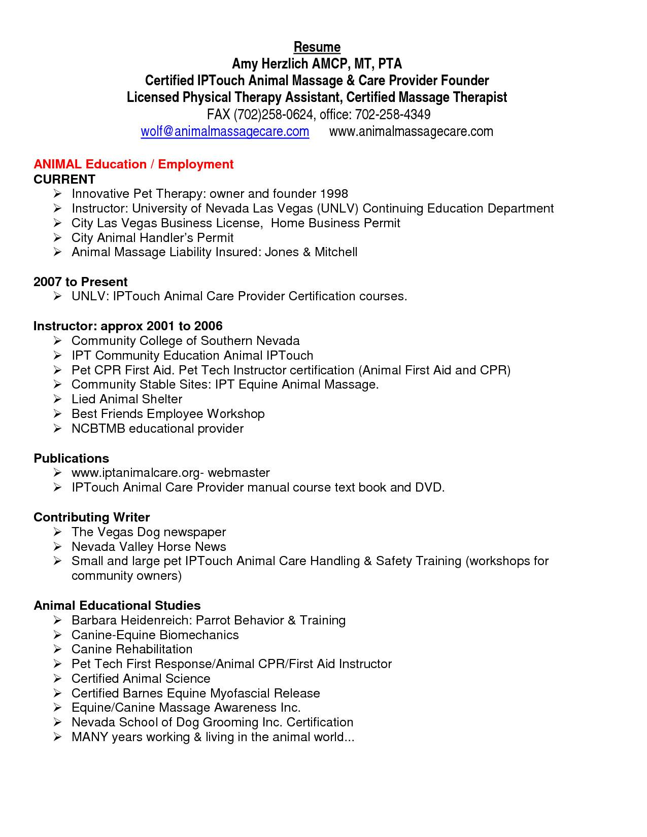 Physical Therapy Curriculum Vitae Template