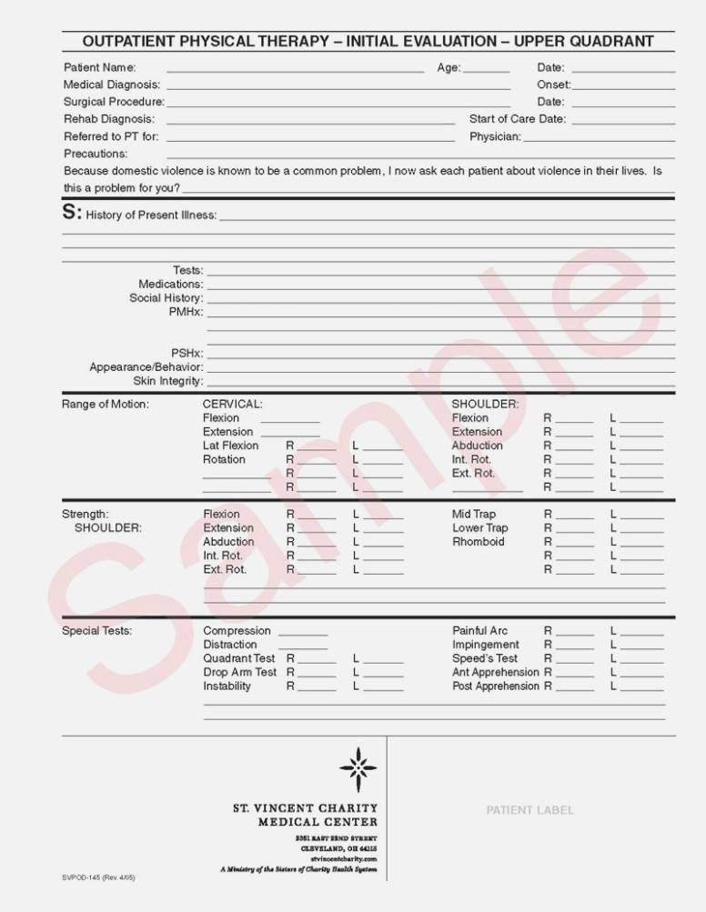 Physical Therapy Evaluation Forms