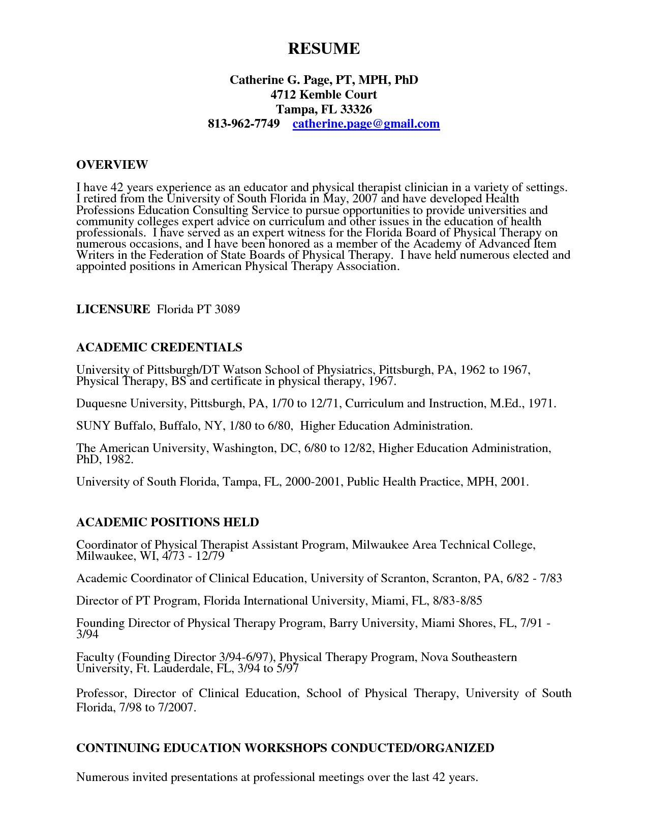 Physical Therapy Student Resume Template