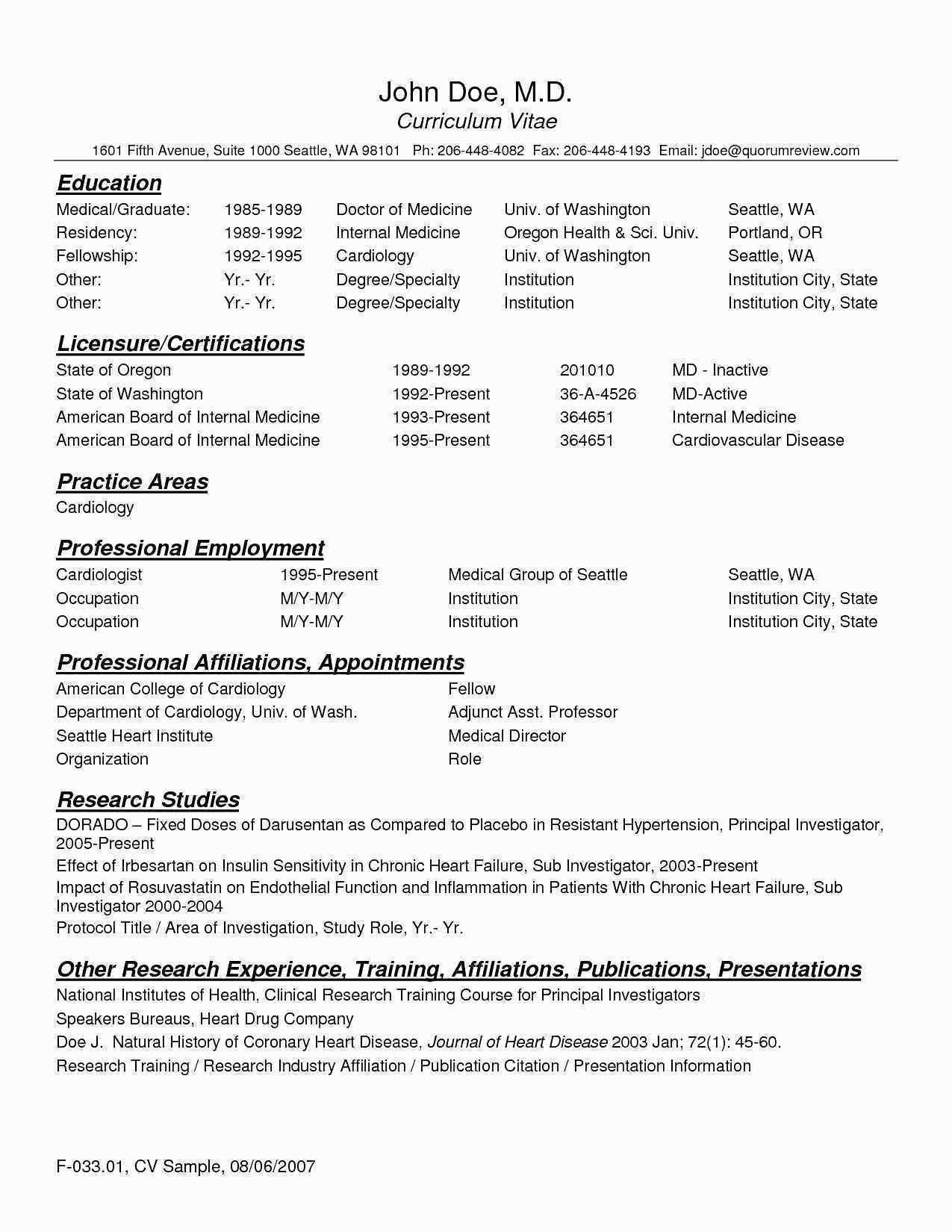 Physician Assistant Cv Template